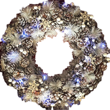 XL Winter Wonderland White Christmas Pinecone Wreath with Snowflakes and LED lighting 48cm by Amalfi