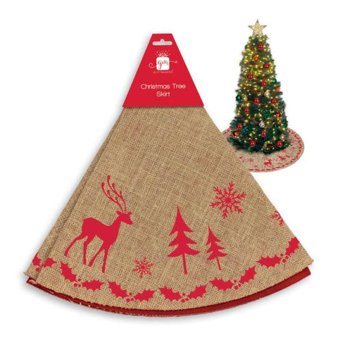 Natural Hessian and Red Print Nordic Style Christmas Tree Skirt