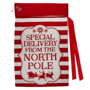 Large Natural and Red Printed Calico & Felt North Pole Special Delivery Present Sack