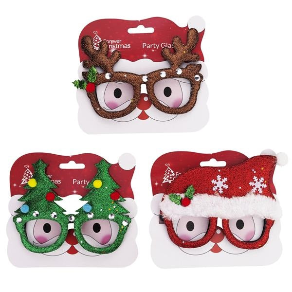 Pack of Three Pairs of Novelty Christmas Spectacles