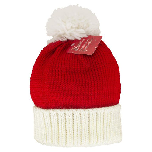 Adult Size Christmas Red & White Santa Style Knitted Bobble Hat