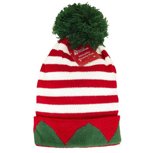 Adult Size Elf Striped Knitted Bobble Hat