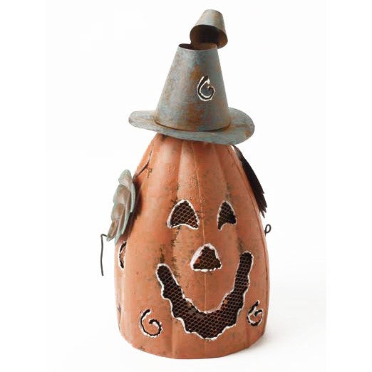 Tall Metal Pumpkin Halloween Lantern-The Useful Shop