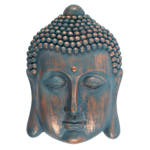 Bronze and Blue Thai Buddha Wall Sculpture 27cm