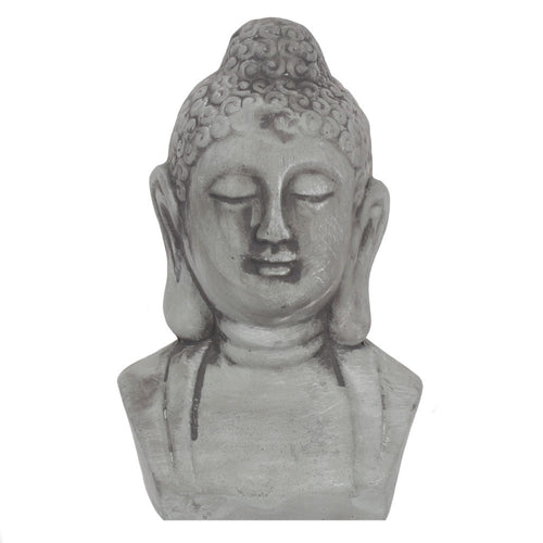 Small Grey Rustic Buddha Head Ornament for Garden and Home