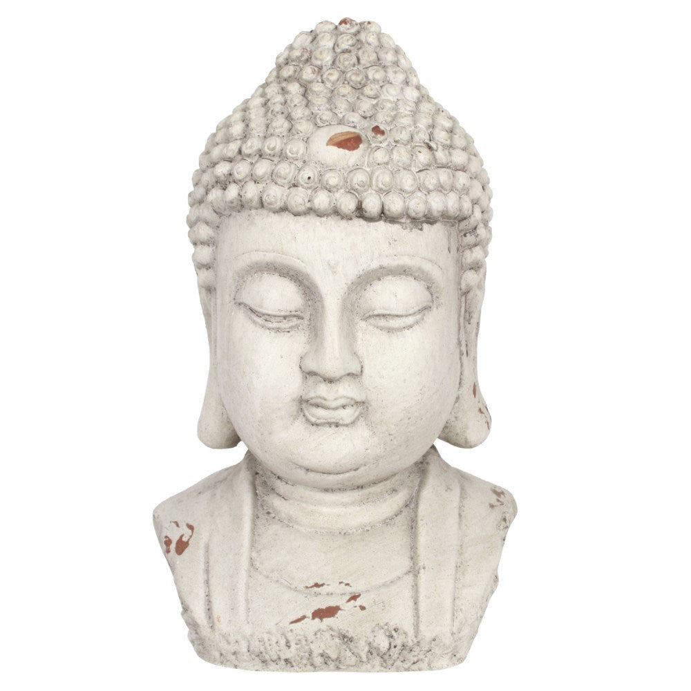 Medium White Buddha Head Garden Ornament Statue 28cm