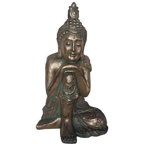 Gold and Verdigris Effect Large Hands on Knee Resting Buddha Statue for Home and Garden