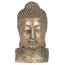 Gold and Verdigris Effect Large Buddha Head Statue for Home and Garden