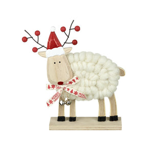 Wood and Wool Cute Reindeer With Red Hat Christmas Standing Decoration