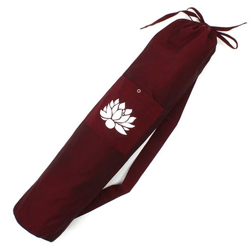 Cotton Lotus Design Yoga Mat Bag - Dark Red Fair Trade-The Useful Shop
