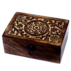 24 Bottle Mango Wood Floral Carved Aromatherapy Storage Box