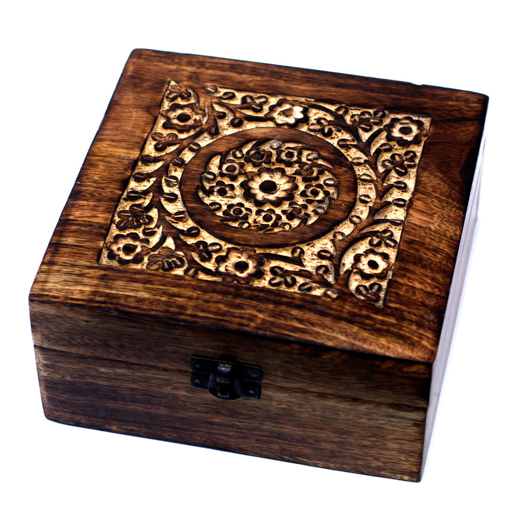 25 Bottle Mango Wood Floral Carved Square Aromatherapy Storage Box