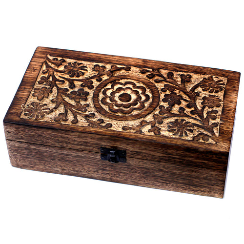32 Bottle Mango Wood Floral Carved Aromatherapy Storage Box