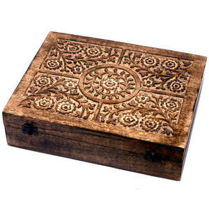 80 Bottle Mango Wood Carved Aromatherapy Storage Box