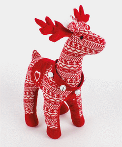 Large Nordic Red & White Reindeer Christmas Display Ornament-The Useful Shop