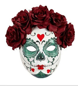Dia de Los Muertos Sugar Skull Halloween Face Mask with Glitter, Dark Red Roses-The Useful Shop