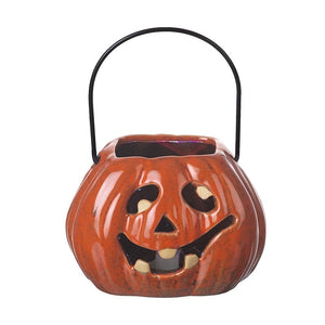 Ceramic Pumpkin Halloween Lantern with LED Light Show-The Useful Shop