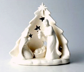 Large White Porcelain Nativity Scene T-Light Display-The Useful Shop