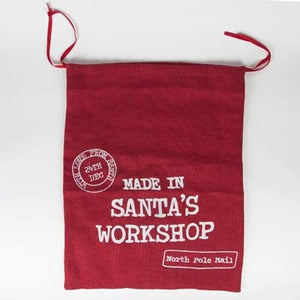 Sass & Belle Made In Santa's Workshop Large Red Jute Christmas Sack-The Useful Shop