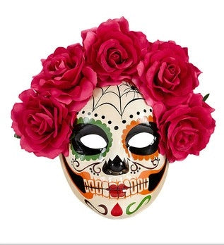 Dia de Los Muertos Sugar Skull Halloween Face Mask with Red, Pink Roses