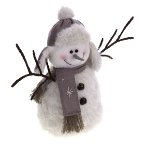 Medium Plush Snowman with Twiggy Arms, Hat and Scarf-The Useful Shop