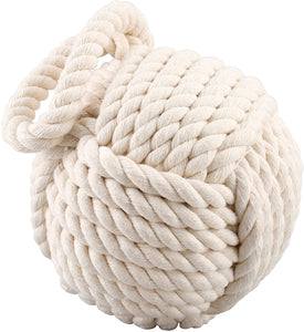 Large Monkey Fist Ivory Nautical Rope Door Stop