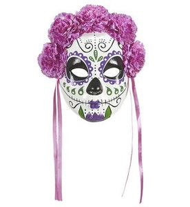 dia de los muertos sugar skull halloween face mask with purple flowers ribbons the