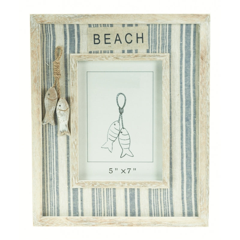 Beach photo frame with fabric and carved wooden fish