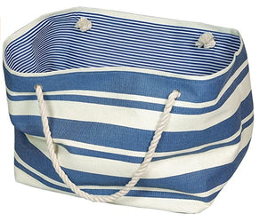 Jumbo Blue and White Beach / Storage Bag with Rope Handles