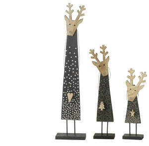 Set of 3 Wooden Black and Gold Reindeer Christmas Decorations-The Useful Shop
