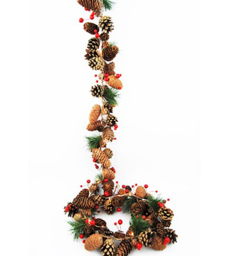 Red Berry and Pinecone Festive Garland