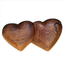 Twin Hearts Puzzle Wooden Carved Fair Trade Trinket Ring Box