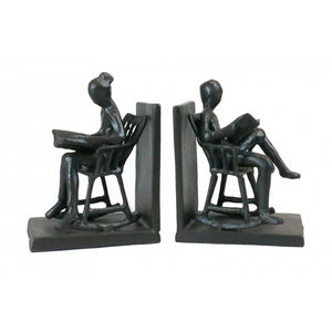 Cast Metal Reading in Rocking Chairs Sculpture Bookends Set
