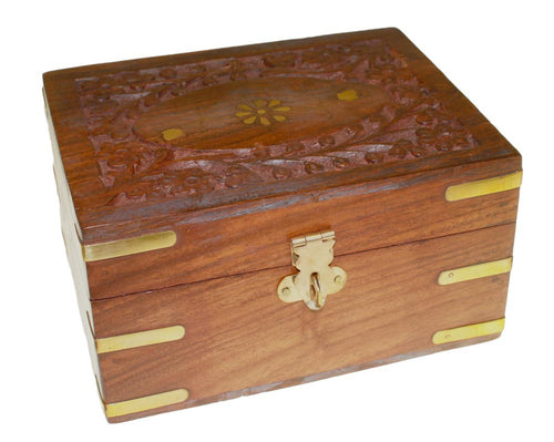 12 Bottle Sheesham Carved Wooden Aromatherapy Storage Box
