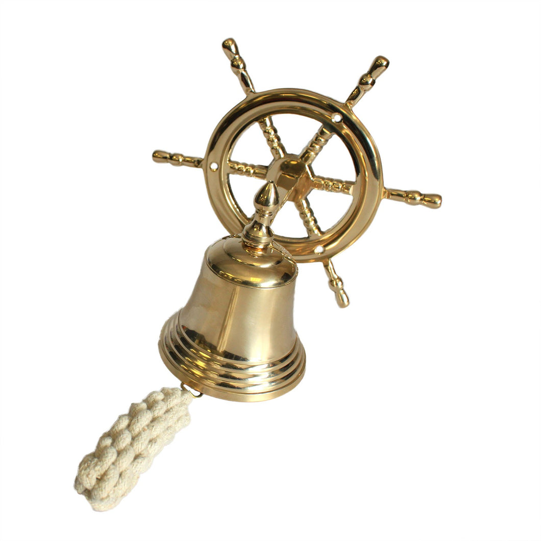 Classic Wall Mounted Solid Brass Yacht Bell With Ships Wheel - Interior or Exterior Use