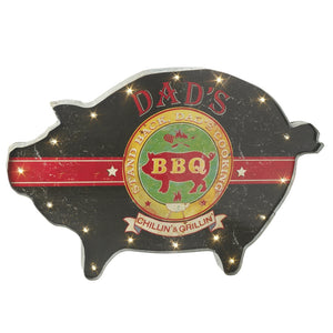 XL Dads BBQ Vintage Carnival Style Light Up LED Pig Shape Sign-The Useful Shop