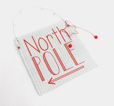 Square North Pole Christmas Sign-The Useful Shop