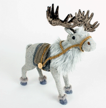 Grey Fabric Moose Standing Decoration-The Useful Shop