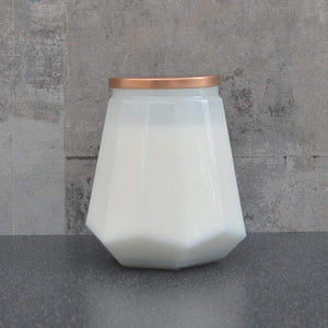 Amber Smoke Large White Hexagonal Candle with Rose Gold Metal Lid 480g by Candlelight