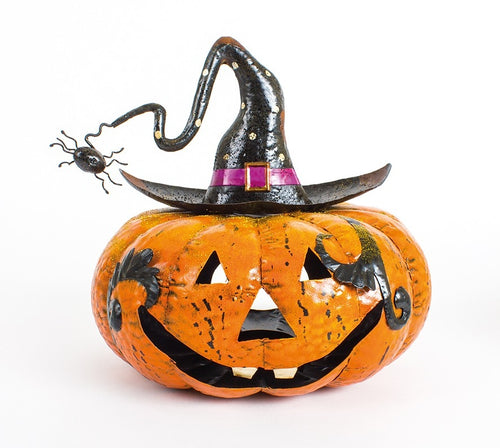 Large Metal Pumpkin Halloween Lantern With Spider-The Useful Shop