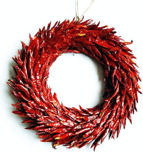Large 36cm Red Chilli Wreath Made from Real Chilli Peppers