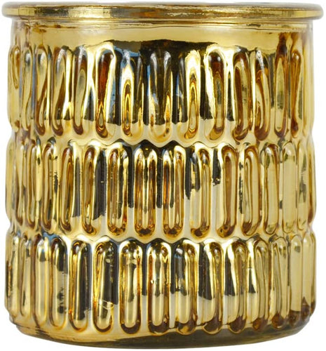 Large Metallic Embossed Gold Jar Prosecco Fragrance Candle by Candlelight