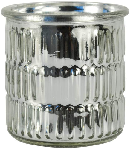 Large Metallic Embossed Silver Jar Hyacinth & Lily  Fragrance Candle by Candlelight