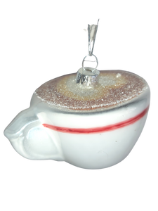 Coffee Lovers Christmas Cappuccino Cup Tree Bauble Decoration with Heart Froth