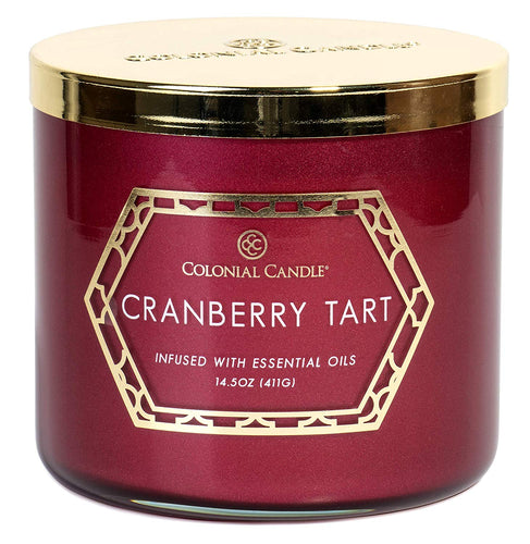 Cranberry Tart Large 3 Wick Holiday Luxe Jar by Colonial Candle Cinnamon, Vanilla, Cranberry and Rose