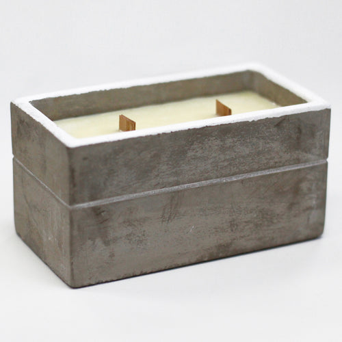 Clove and Dark Sandal Urban Concrete Double Wood Wick Box Candle