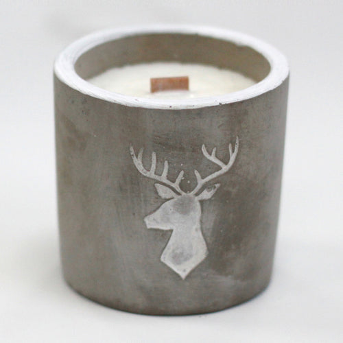 Whiskey & Woodsmoke Urban Concrete Single Wood Wick Candle with Stag Motif