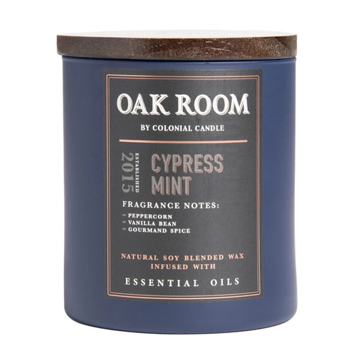 Manly Indulgence Oak Room Cypress Mint Large 15oz Jar Luxury Candle by Colonial Candle