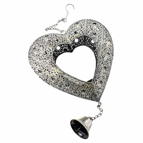 Heaven Sends - Hanging Heart Filigree Metal Candle Holder with Bell - Large-The Useful Shop