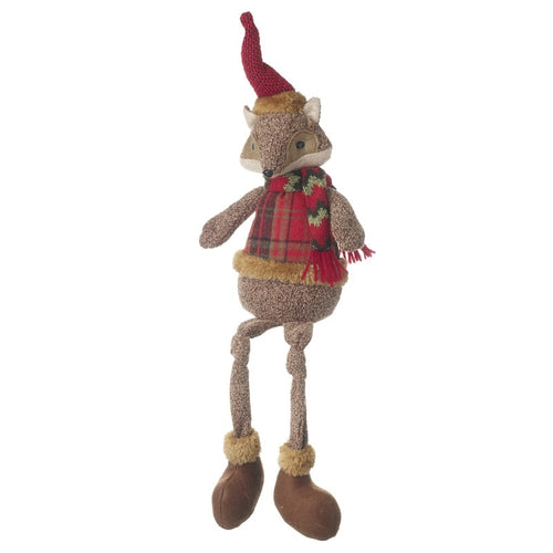 Large Festive Woodland Fox Shelf Sitter Deluxe Christmas Decoration-The Useful Shop